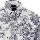 GUIDE LONDON Mod Outline Floral Linen Shirt WHITE