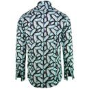 GUIDE LONDON Retro Mod Blue Morpho Butterfly Shirt
