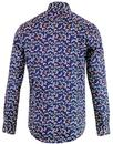 GUIDE LONDON Mens 60's Mod Dragonfly Print Shirt N