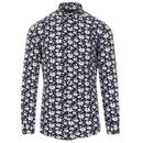 Guide London Men's 60s Mod Daisy Floral Print Textured Shirt in Navy