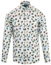 guide london retro mod tropical fish print shirt