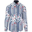 guide london mens retro mod paisley vertical stripe print long sleeve shirt white navy red