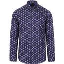 guide london mens patterned long sleeve shirt navy blue