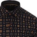 GUIDE LONDON Retro Mod Art Deco Mosaic Print Shirt