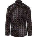 guide london mens patterned long sleeve shirt navy