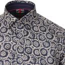 GUIDE LONDON Retro Mod Op Art Floral Shirt