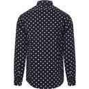 GUIDE LONDON 1960s Mod Polka Dot Shirt (Navy)