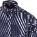 GUIDE LONDON 60s Mod Polka Dot Shirt (Navy/White)