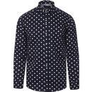 guide london mens polka dot print long sleeve shirt navy
