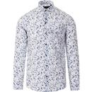 guide london mens seersucker floral print long sleeve shirt white blue