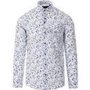 GUIDE LONDON 60s Mod Seersucker Floral Shirt (W/B)