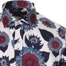 GUIDE LONDON Retro Mod Bold Floral Sunflower Shirt