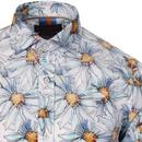 GUIDE LONDON Retro Mod Painted Daisy Floral Shirt