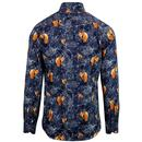 GUIDE LONDON Retro Floral Fox Sateen Shirt - Navy