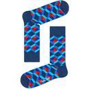 Happy Socks for Women - Retro Optical Square Cube Socks in Blue