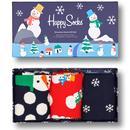 happy socks womens 3 pack gift set snowman socks navy red white