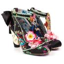 Irregular Choice Blossom Bunny Retro Chinese Heel Shoes Black
