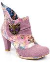 irregular choice miaow 70s lavender cat face boots