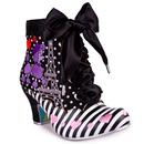 Front view of Irregular Choice Paris For Two Poodle Dog Heel Boots in Black