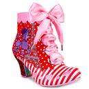 Front view of Irregular Choice Paris For Two Poodle Dog Heel Boots in Red