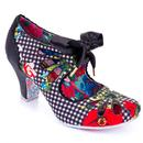 Irregular Choice Sugar Plum Retro 50s Floral Gingham Heels in Black