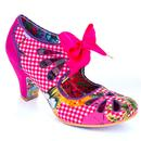 Irregular Choice Sugar Plum Retro 50s Floral Gingham Heels in Pink