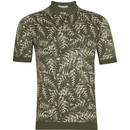 John Smedley Kimball Made in England 60s Mod Leaf Intarsia Knit Polo Shirt in Sepal Green