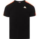 kappa mens coen slim banda tshirt black neon orange
