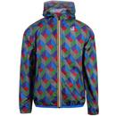 kway jacket geo print blue green