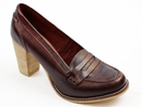 LACEYS RETRO WOMENS HEELED LOAFERS SHOES BURGUNDY