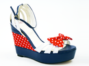LACEYS RETRO VINTAGE POLKA DOT WEDGES 60s SHOES