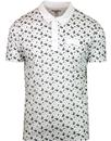 lambretta all over print paisley polo shirt white