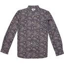 lambretta paisley print button down shirt navy