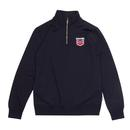 Lambretta scooter logo funnel neck track top navy