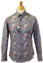 LAMBRETTA Retro 60s Psychedelic Paisley Mod Shirt