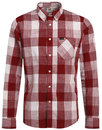 lee retro mod block check button down shirt red