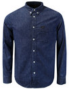 lee mens retro mod button down indigo denim shirt