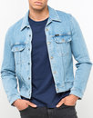 lee rider retro mod denim snap jacket bleach stone