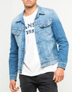 lee rider retro mod slim denim jacket worn in blue