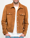 lee rider retro 70s suede western snap jacket rust