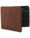 levis leather and denim wallet brown/navy