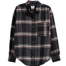levis womens relaxed fit long sleeve plaid shirt caviar black