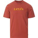 levis mens logo print relaxed fit tshirt marsala red