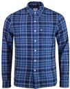 levis sunset 1 pocket indigo linen check mod shirt