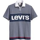 Levis Men's Mod Stripe Block Logo Rugby polo Top in Dress Blues