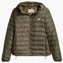 levis womens pandora packable padded zip jacket olive green front
