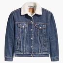 Levi's Women's Retro 70s Denim Sherpa Collar Trucker Jacket in Rough and Tumble Blue
