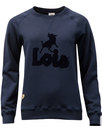 LOIS Women's Retro 70s Flock Print Sweatshirt NAVY