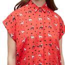 Abinaya LOUCHE Retro Dog Print Short Sleeve Shirt
