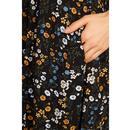 Cathleen Delphi LOUCHE Floral Tea Dress Black